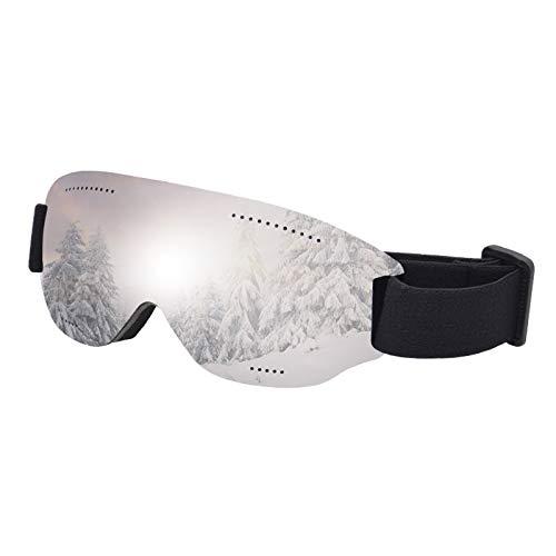 DressLksnf Gafas de Esquí de Una Sola Capa Gafas de Nieve EsféRicas Grandes Espejo de Viento,0409ESD025 Plata 25