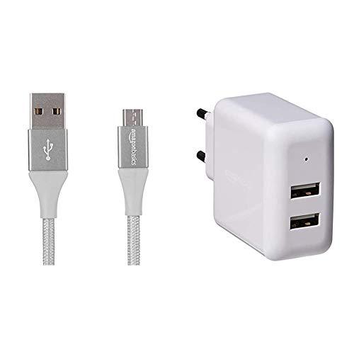 Amazon Basics - Cavo da USB 2.0 A a micro B, in nylon a doppio intreccio   0,9 m, Argento & Caricabatterie da parete a 2 porte USB (2,4 A) - Bianco