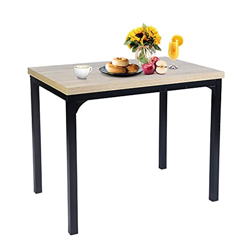 FurnitureR Mesa de Comedor Extensible Rectangular Eames Mesa de Comedor fácil de Abrir y Cerrar para 6 Personas con Estructura de Metal