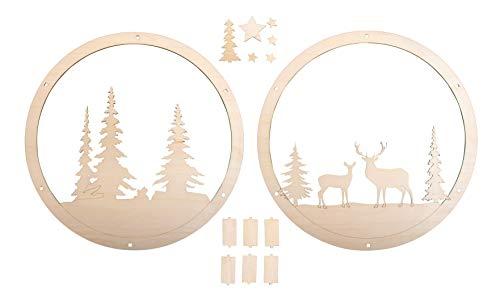 Rayher 62982505 Holz-Kranz Winterland, FSC zertifiziert, 30 cm ø, natur, Set 14-tlg., mit Stegen, Holz Deko Kranz mit Motiv, Weihnachtsdekoration