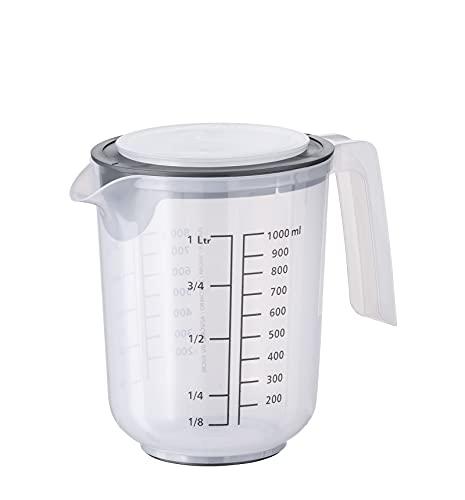 Vaso mezclador APS con tapa - vaso medidor con escalas para líquidos (l/ml), azúcar (g) y harina (g) / volumen 1 litro / Ø 12,5 cm / altura 16 cm / apto para lavavajillas