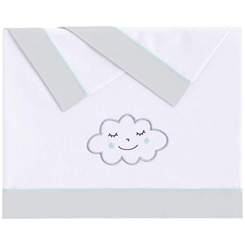 Pekebaby Tríptico Sábanas Algodón de bebé Cuna (60 x 120 cm) Nuvola Menta