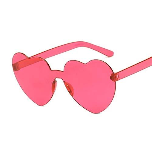 N\A Mujeres con Elegancia con Elegancia Lente corazón Nuevo Amor Mujer Borrar Color del Caramelo de Las Gafas de Sol de Las Mujeres Transparentes capítulo plástico Estilo Gafas de Sol Señora