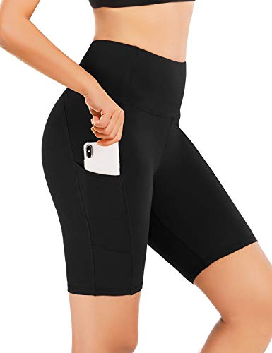 LouKeith Womens Yoga Shorts High Waist Tummy Control Workout Running Shorts Side Pockets Black S