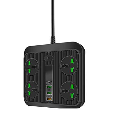 QREZ Regleta Enchufes, Regleta Múltiple De 4 Enchufes 3 Enchufes USB Toma De Corriente con Protección contra Sobrecargas Y Interruptores 3000W 16W 5V 16A 2M para Teléfono Hogar Oficina,Negro