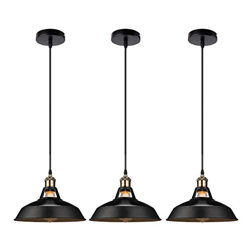GALYGG Black Industrial Pendant Lighting, Metal Shade Ceiling Hanging Light Fixtures, for Kitchen Island - 3 Pack (Included 4W Edison Bulb)