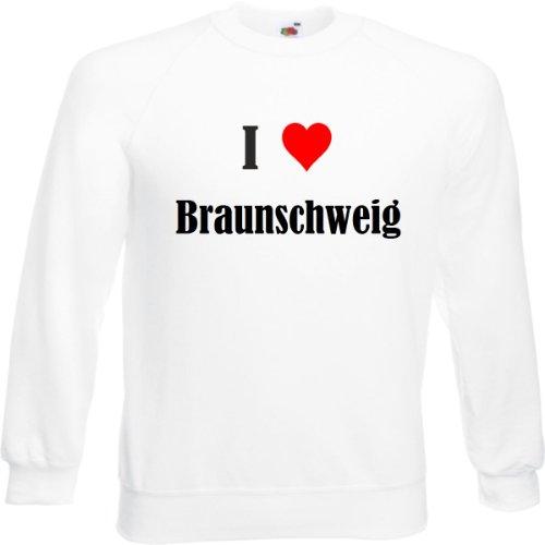 Reifen-Markt Sweatshirt I Love Braunschweig Größe 2XL Farbe Weiss Druck Schwarz