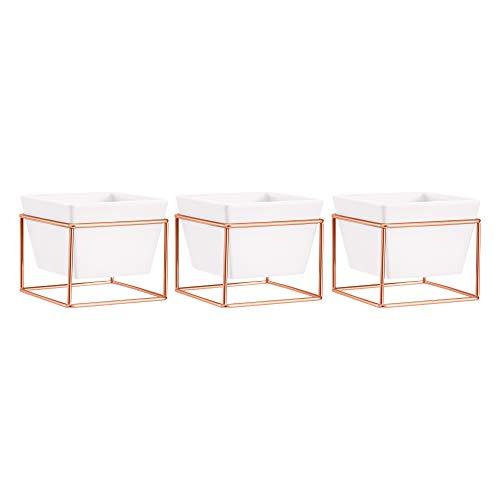 AmazonBasics Pflanztopf für den Tisch, quadratisch, Weiß / Kupferfarben, 3 Stück