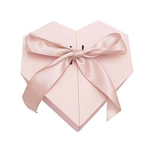 Li Ying Herzförmige Geschenkbox Boutique Papieraufbewahrungsbox mit Schmetterlings-Krawatte für Weihnachten Frauentag Muttertag Valentinstag Überraschungsgeschenk