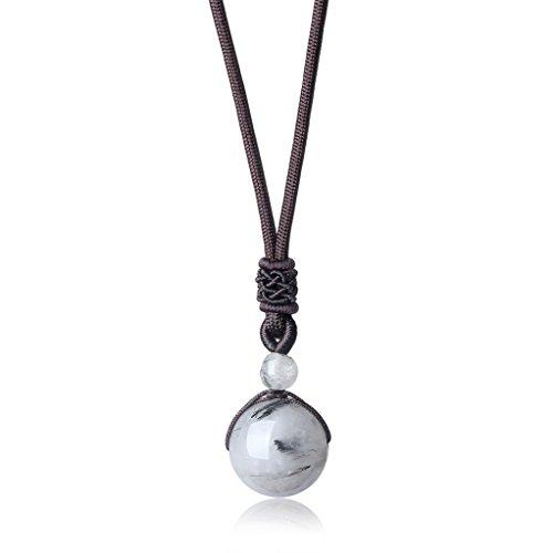 coai Geschenkideen Glückskette aus Schwarzem Rutilquarz mit Verstellbarer Nylonschnur Halskette Perle Anhänger für Damen und Herren