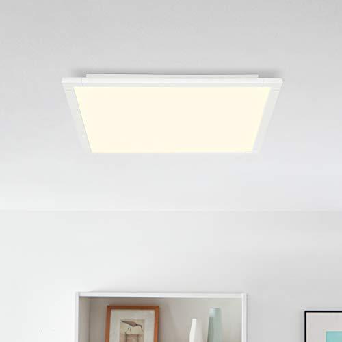 LED Panel Deckenleuchte, dimmbar mit Fernbedienung, 60x60cm, 42 Watt, 3600 Lumen, 2700-6500 Kelvin aus Metall/Kunststoff in weiß
