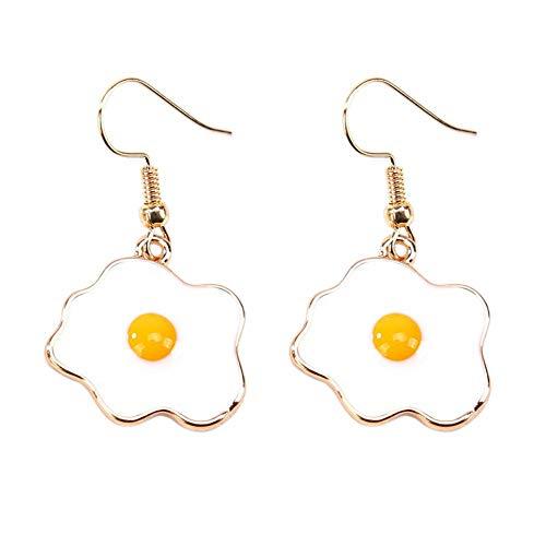 Pendientes para mujer, diseño de tortilla y huevo
