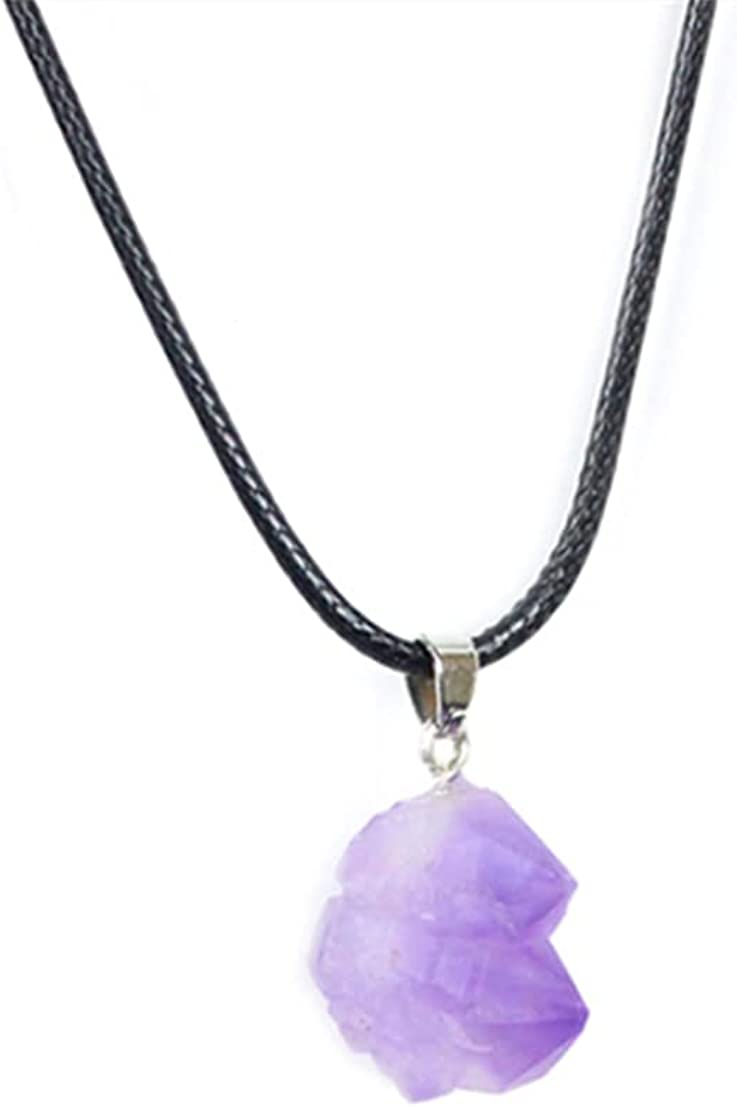 Pingyongchang Natural Amethyst Raw Ore Sprout Pendant Necklace Leather String Necklace for Women and Girls