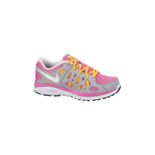 Nike Kids Dual Fusion Run 2 (GS) Pnk Glw/White/Wlf Gry/Atmc Mng Running Shoe 7 Kids US