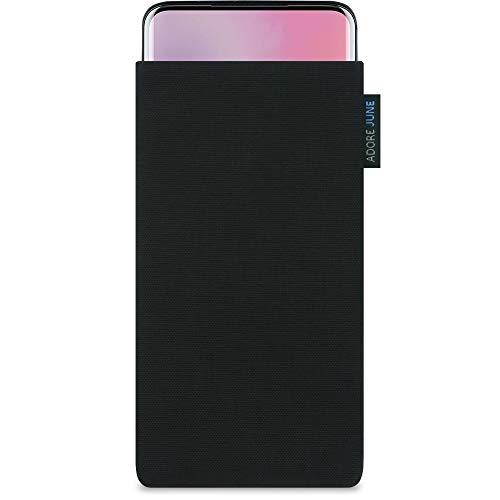 Adore June Classic Schwarz Tasche kompatibel mit OnePlus 7 Pro & OnePlus 7T Pro Handytasche aus beständigem Cordura Stoff, Robustes Zubehör mit Bildschirm Reinigungs-Effekt, Made in Europe