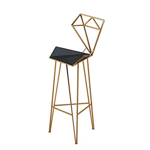 Gpzj Hoher Hocker Eisen Barhocker Küche Diamant Rückenlehne Form Lederkissen + Stabiles dreieckiges Metallschweißen für Cafe Restaurant - Sitzhöhe: 18 Zoll A.
