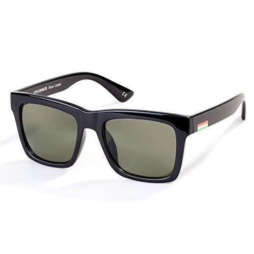 Colossein Classic Polarized Sunglasses For Men Retro Square Frame Mirrored Lens, UV400(Dark Green Lens/Black Frame)
