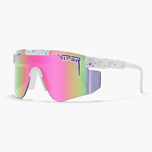 Tletiy White Tr90 Frame Outdoor Double Wide Polarized Mirror Tr90 Frame Pit-Viper Gafas De Sol Unisex Outdoor Windproof Ciclismo Pesca Golf Eyewea para Deportes Pesca Golf Correr