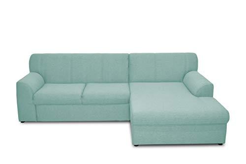 DOMO. collection Topper Ecksofa, Sofa, Couch in L-Form, kleine Polsterecke mit Schlaffunktion, Eckcouch, Polstergarnitur, blau, 245 x 155