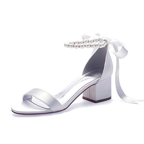 LGYKUMEG Damen Brautschuhe, Peep Toe High Heels Sandalen mit Strass Satin Hochzeitsschuhe,Weiß,38EU/7US/5UK