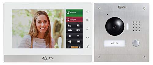 Goliath AV-VTC06 IP deurintercom met camera, inbouw HD-deurstation, roestvrij staal, app met deuropener functie, 7 inch touchscreen, videogeheugen, 1 familiehuis-set