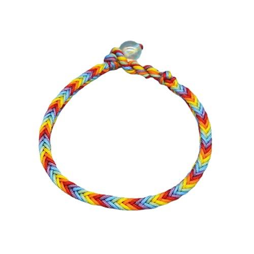 Pulsera de orgullo LGBT con cuerda trenzada hecha a mano con cordón de amistad, tamaño ajustable, para gays y lesbianas LGBTQ mujeres y hombres (A S)