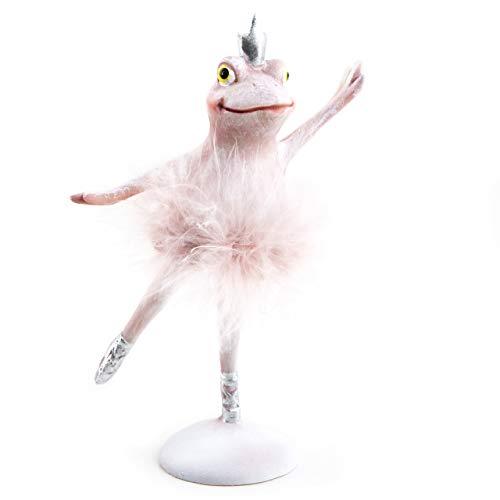 Logboek-uitgeverij kikker figuur 14,5 cm met kroon roze zilver - ballerina decoratiefiguur prinses kikkerkoning - cadeautje geboorte kinderverjaardag meisje 1 Stück roze