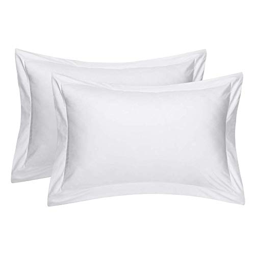 Comfort Beddings Zware Kwaliteit 400 Draad Count 100% Egyptisch Katoen Oxford Wit Extra Grote Kussensloop Paar 22 x 31