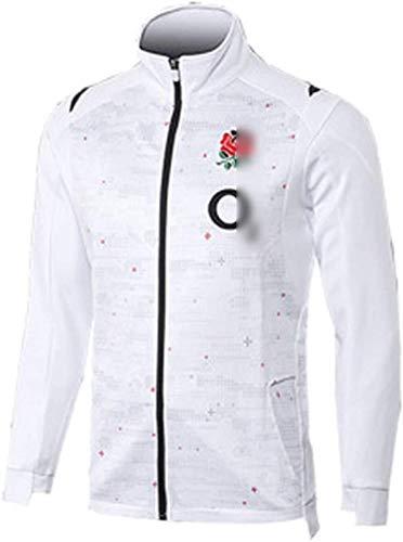 Rugby-Jersey, 2021 England Rugby Hoodie, Weltcup Herren Rugby Fans Shirt, Neue Reißverschluss Rugbyjacke, Langarm Regular Fit Sportswear für einen Freund (Color : White, Size : 3XL)