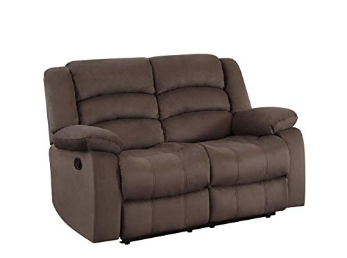 Blackjack Furniture Winthrop Microfiber Modern Reclining Living Room, Sofa, Den Loveseat, Chocolate