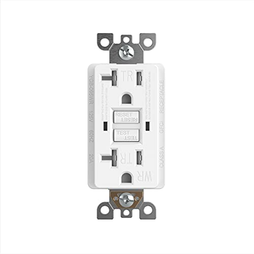 TaniaWiring 20 Amp GFCI Outlet, GFI Dual Receptacle, TR Tamper Resistant and WR Weather Resistant, LED Indicator, Self-Test Ground Fault Circuit Interrupter, 5-20R, TAN-G7720TR - White, UL Listed