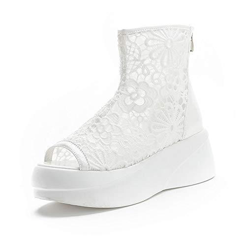 Damen Sommer Plattform Keil Sandalen Transparente Spitze Mesh Plattform Schuhe