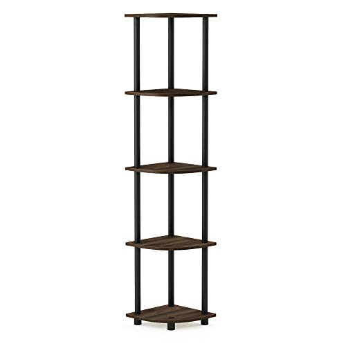 Furinno Turn-N-Tube 5 Tier Corner Display Rack Multipurpose Shelving Unit, Columbia Walnut/Black Nebraska
