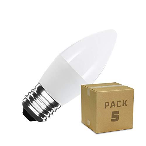 LEDKIA LIGHTING Pack Bombillas LED E27 Casquillo Gordo C37 5W (5 un) Blanco Cálido 2800K - 3200K