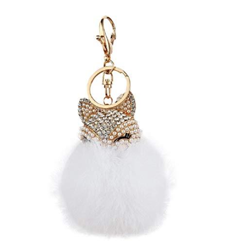 KHHGTYFYTFTY Fox Ornamentos Colgantes con Bola de Pelo Llavero Pendiente del Fox del Monedero del Bolso de Mano Blanco del Coche