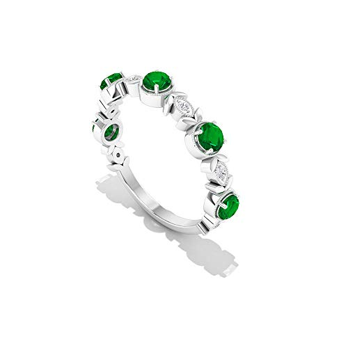 Rosec Jewels 14 quilates oro blanco redonda round-brilliant-shape IJ Green Diamond Emerald