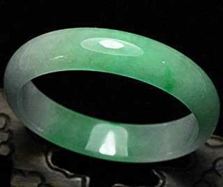 FidgetFidget 61mm Certified Natural Emerald Green Jadeite Jade Bangle Bracelet Handmade