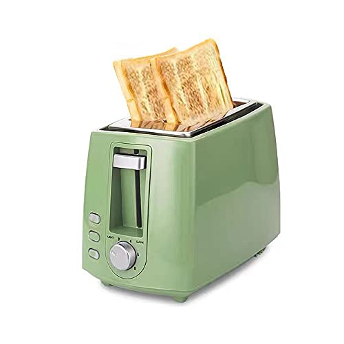 ANGLED-large capacity 2 Slice Toaster, Extra Wide Slots Stainless Steel Toaster with 6 Bread Brownings Set up,Stop,defrost,and reheat function,removable tray,Stainless steel liner,Retro Style(green) H