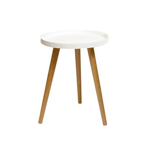 DQMSB Salon Balcon Table Basse Petite Table Ronde Petite Table Mini Table de Chevet Table d'appoint canapé, Disponible en Trois Tailles (Blanc/Noir/Gris) (Couleur : Blanc, Taille : 50 * 50CM)