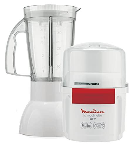 Moulinex AR6801 - Picadora y Batidora La Moulinette 800 w + blender, doble cuchilla de acero inoxidable, capacidad de 200 g y de 750 ml., sistema 1-2-3, batidos de frutas, blanco y rojo