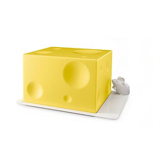 Balvi Quesera IloveaCheese Color amarillo recipiente para queso original Utensilio original cocina Tapa para cubrir el queso y bandeja con figura de ratoncito Regalos originales para foodies y amantes del queso Plástico ABS 10,5x14,3x19,4