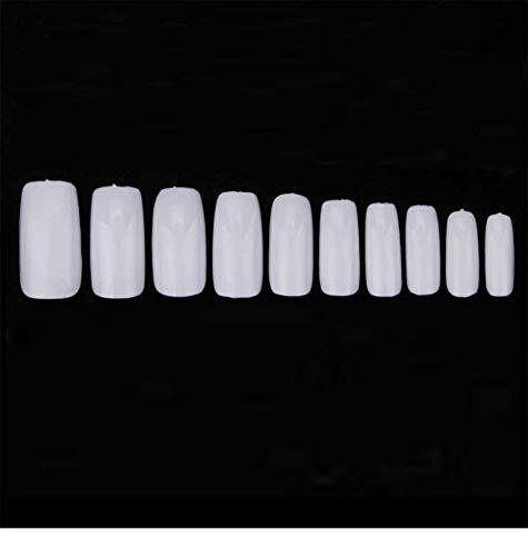 500 unids / caja manicura francesa natural uñas postizas puntas de uñas artificiales uñas postizas con diseño cápsula de uñas transparente-Blanco completo con caja