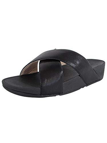 FitFlop Womens Lulu Cross Glitz Slide Sandal Shoes, Black, US 10