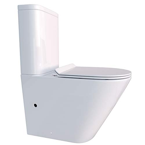 KERABAD Randlose Stand-WC Kombination mit Spülkasten WC-Sitz Duroplast Absenkautomatik SoftClose-Funktion für waagerechten und senkrechten Abgang Randlos KB6093B-R