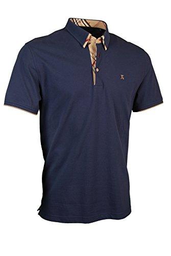 Giorgio Capone Premium-Poloshirt, einzigartiger Hemdkragen, Pique-Stoff 100% Baumwolle, blau, Regular Fit (L)