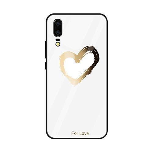 Caler Verre Trempé Arriere Protection Antichoc Coque Compatible pour Xiaomi MI 8 [Motif en Verre trempé] avec Silicone Bumper de Mignon Motif Design Mince-Souple Case Etui(Amour4)