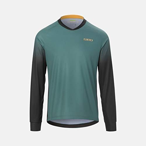 Giro M Roust LS Jersey - Maillot de ciclismo para hombre, color gris y verde transición (2021) - XXL