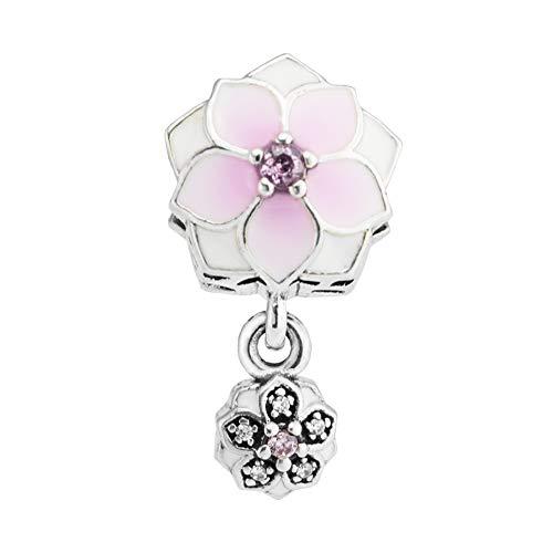 2017 wiosna kolekcja DIY pasuje do oryginalnych bransoletek Pandora autentyczne srebro próby 925 magnolia kwitnące koraliki charm biżuteria