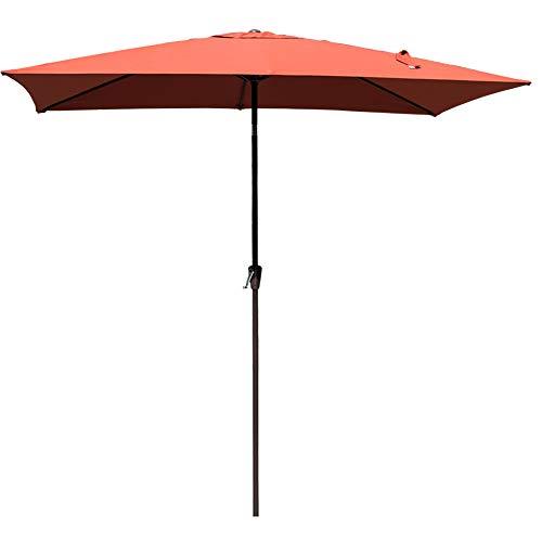 Sundale Outdoor 6.5 x 10 Ft Sunbrella Canopy Rectangular Umbrella Patio Garden Outdoor Aluminum Market Umbrella with Crank and Push Button Tilt, Terracotta