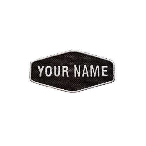 Emporium Embroidery Retro-Aufnäher zum Aufbügeln, mit Namen personalisierbar, für Bikerjacken, Teamuniformen oder als Etikett auf Jeans und Cordstoffen (Mittel,Leuchtet im Dunkeln)